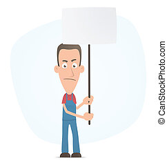 Mechanic standing with placards on the picket - Illustration...