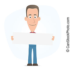 Mechanic holds up a poster - Illustration of a cartoon cute...