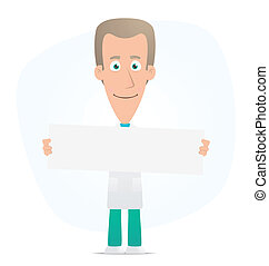 doctor holds up a poster