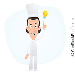 Chef visited idea - Illustration of a cartoon cute character...