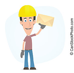 Builder standing with a letter