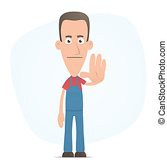 stop - Illustration of a cartoon cute character for use in...