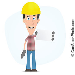 Builder with blank business card