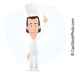Chef points his finger at the top - Illustration of a...