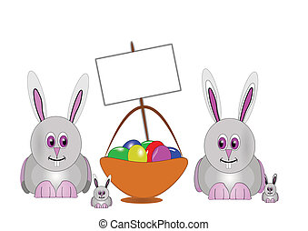 bunnys - Easter bunnies with eggs in basket on white