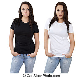 Female and blank white and black shirts - Young beautiful...