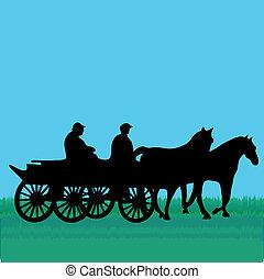 caballo, coche, gente