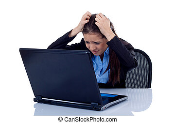 business woman reading bad news at laptop - Beautiful...