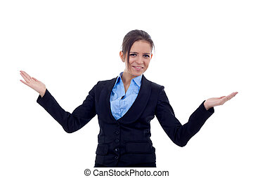 business woman welcoming - Friendly smiling business woman...