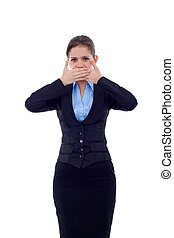 Speak No Evil - business woman in the Speak No Evil pose...