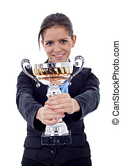 woman showing her big trophy - Happy business woman showing...