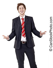 young business man with open arms