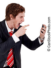 angry business man yelling at mobile phone