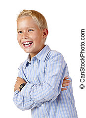 Portrait of young smiling boy with crossed arms