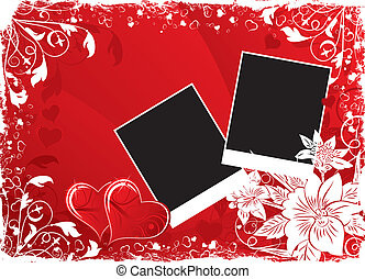 Valentines Day background with hearts and flowers -...