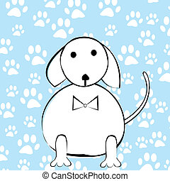 Funny cartoon dog over paws background