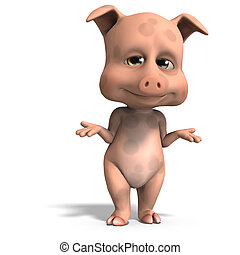 cute and funny cartoon pig. 3D rendering with clipping path...