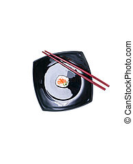 Sushi on black plate - fresh sushi, shot in natural light on...