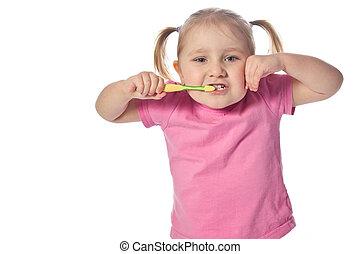 孩子, 他的, 刷子, 牙齒