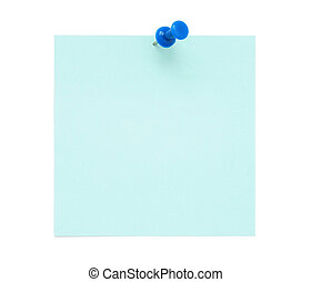 Blank blue post it note with pushpin isolated on white...