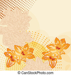 vector modern grunge background with flowers with space for...