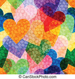vector seamless background with a variety of bright hearts,...