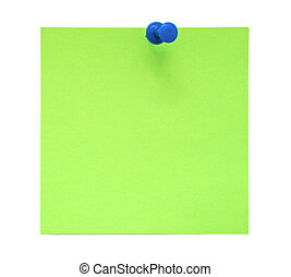 Green sticky note with push pin