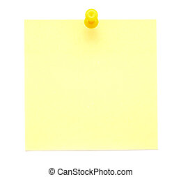 Yellow sticky note with push pin