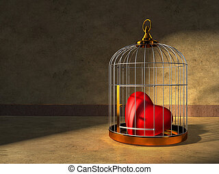 Heart in a cage - A red heart kept closed in a shiny metal...