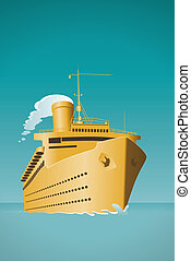 cruise ship - An old style cruise ship vector illustration