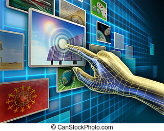 Touch screen - Hand using a touch-screen interface to browse...