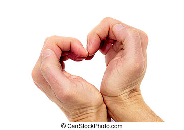 heart - man hands forming a heart on a white background