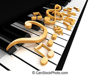 treble clef is on the piano keys