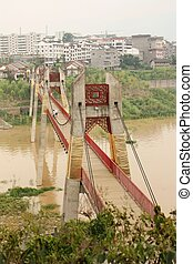 Yangtze river landscape and bridge - Rural landscape with a...