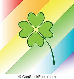 Four Leaf Clover - Four leaf clover on rainbow