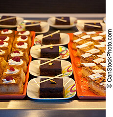 Chocolate and Pastry Desserts on a Tray - A selection of...