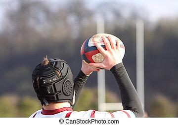 rugby, jugador, tiro