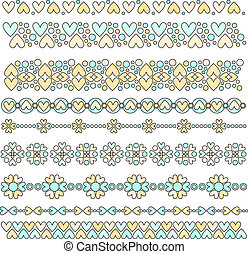 Vector Pastel Heart Trims - Vector heart trim or border...