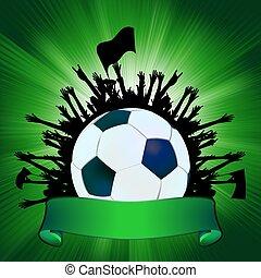 グランジ, サッカー, ボール, 背景, EPS, 8
