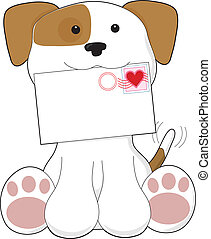 Puppy Love Love Letter - A cute puppy is holding a letter...