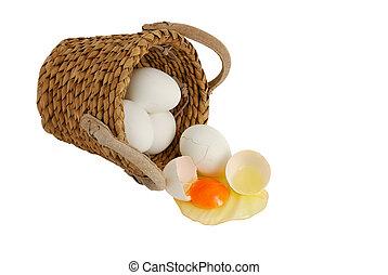 Haga, no, puesto, todos, huevos, mismo, cesta