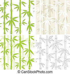 Seamless vector backgrounds with bamboo - Collection - four...