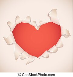 Heart shaped torn paper