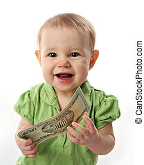 Money baby - Cute baby girl smiling holding on to a million...