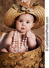 Vintage baby girl - Portrait of an adorable baby girl...