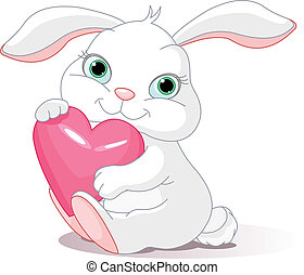 Rabbit holds love heart - Small lovely rabbit holds love...