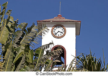 Bell tower with tropical foliage - Bell tower in the Mexican...