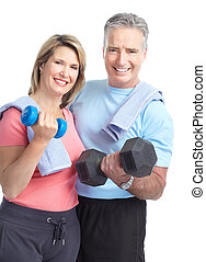 Gym and Fitness - Gym Fitness Smiling elderly couple with...