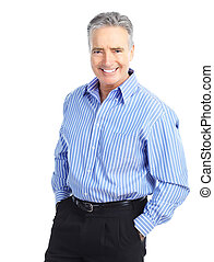 senior man - Smiling happy senior man. Isolated over white...