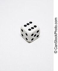 Die - Single die on white showing number six